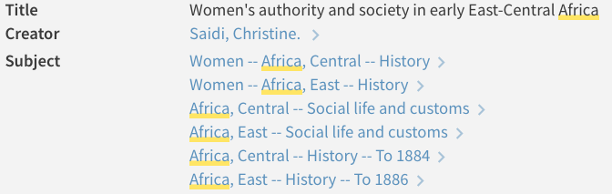 screenshot of subject headings on precolonial Africa