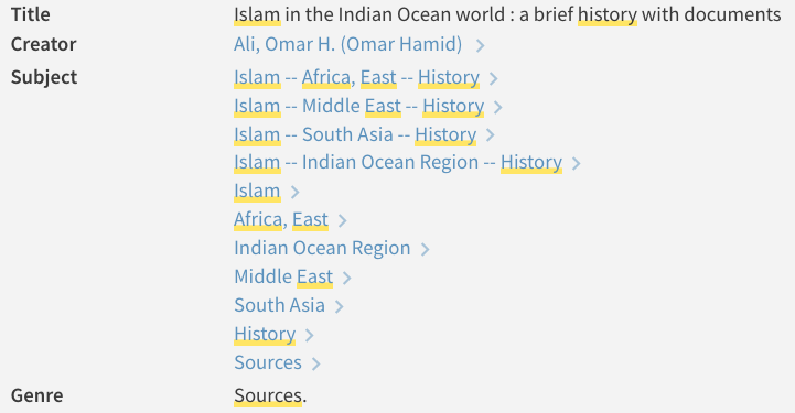 screenshot of genre for east african history sources