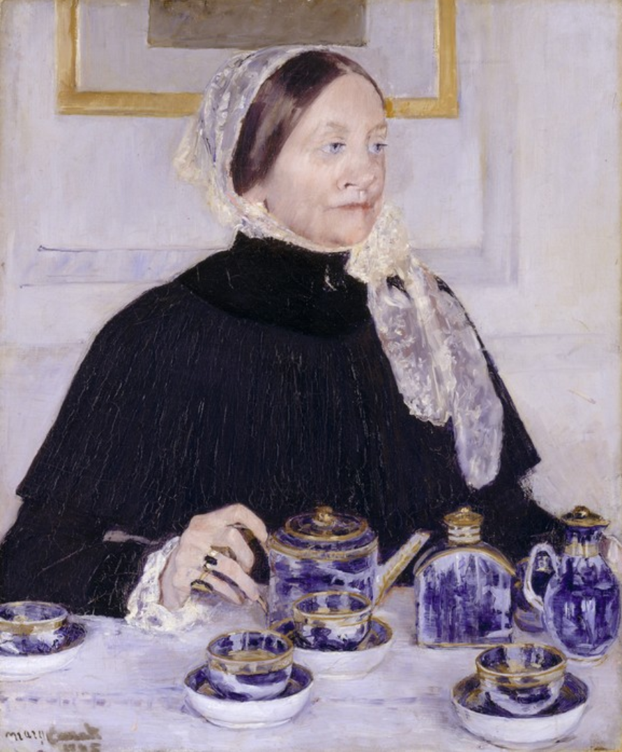 lady at tea table - painting by Mary Cassatt