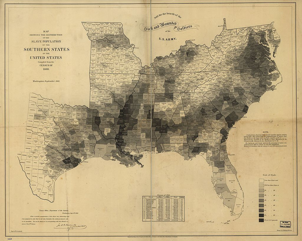 map of slave population of US in 1860