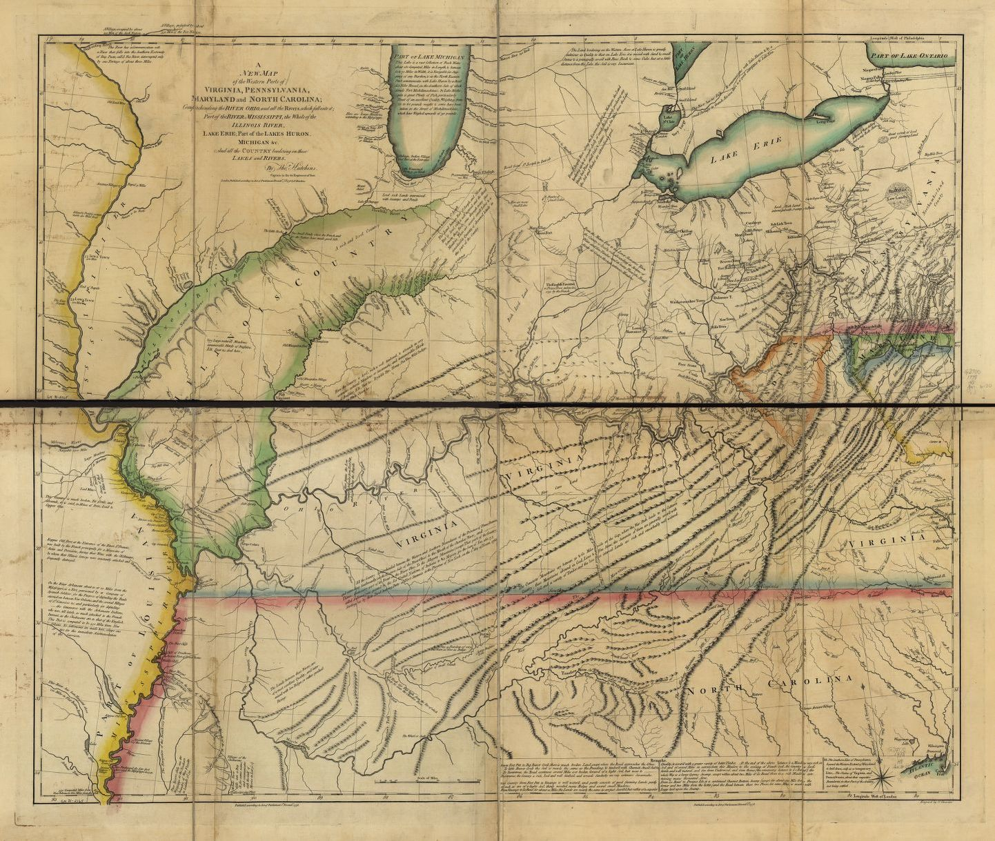 A 1780 map from the Rochambeau collection at the Library of Congress that shows the western parts of Virginia, Pennsylvania, Maryland, and North Carolina
