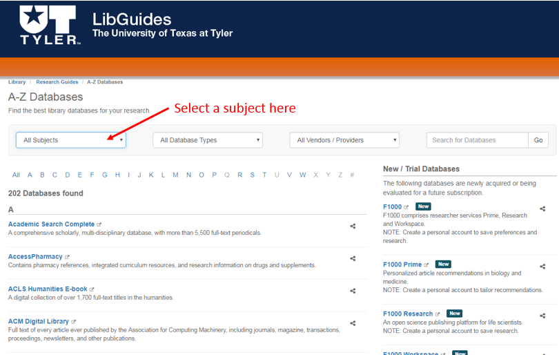 Screenshot showing where you can select a subject to view a list of Databases by Subject.