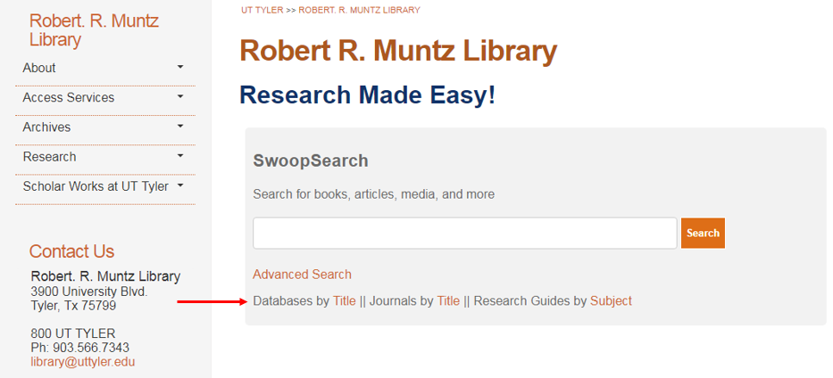 Screenshot showing where Databases by Title is located on the Library's website.