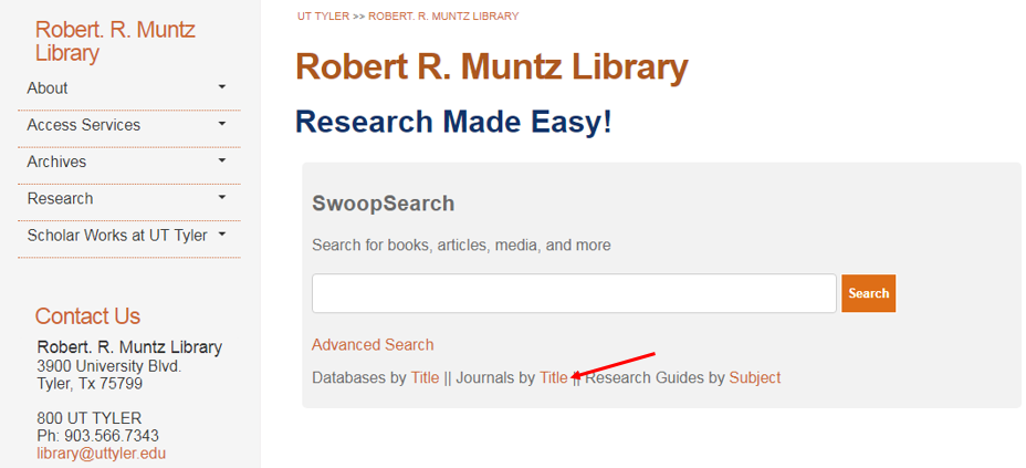 Screenshot showing where Journals by Title is located on the Library's website.