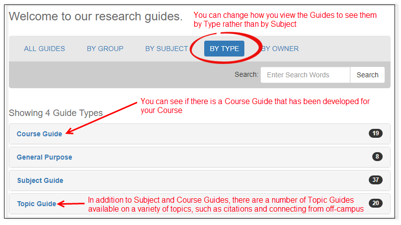 You can change how you view the Guides to see them by Type rather than by Subject. You can see if there is a Course Guide that has been developed for your Course. In addition to Subject and Course Guides, there are a number of Topic Guides available on a variety of topics, such as citations and connecting from off-campus.