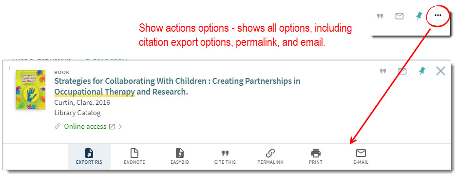 Show actions options - shows all options, including citation export options, permalink, and email.