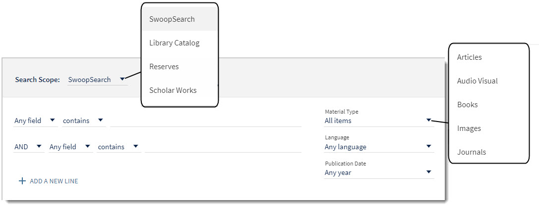 image of advanced search options for SwoopSearch