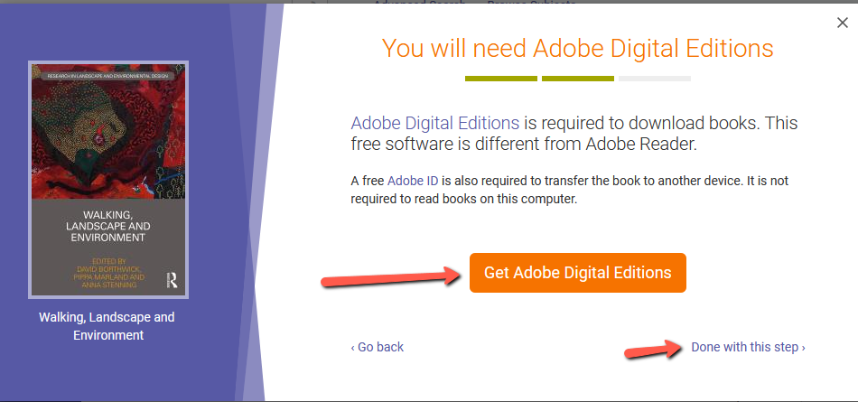 eBook central screen to install Adobe Digital Editions