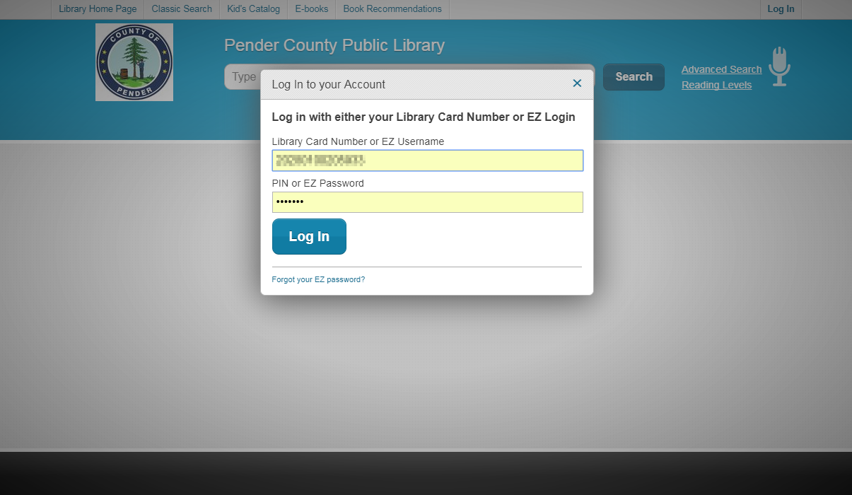 Library account login screen