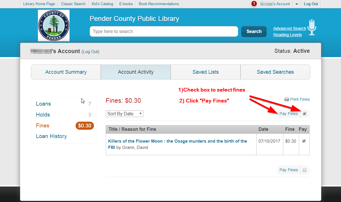 Library fines page