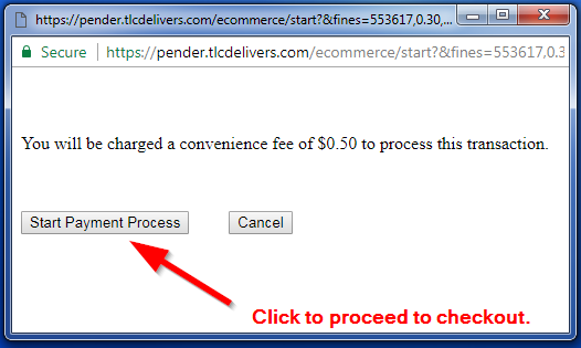Convenience fee popup