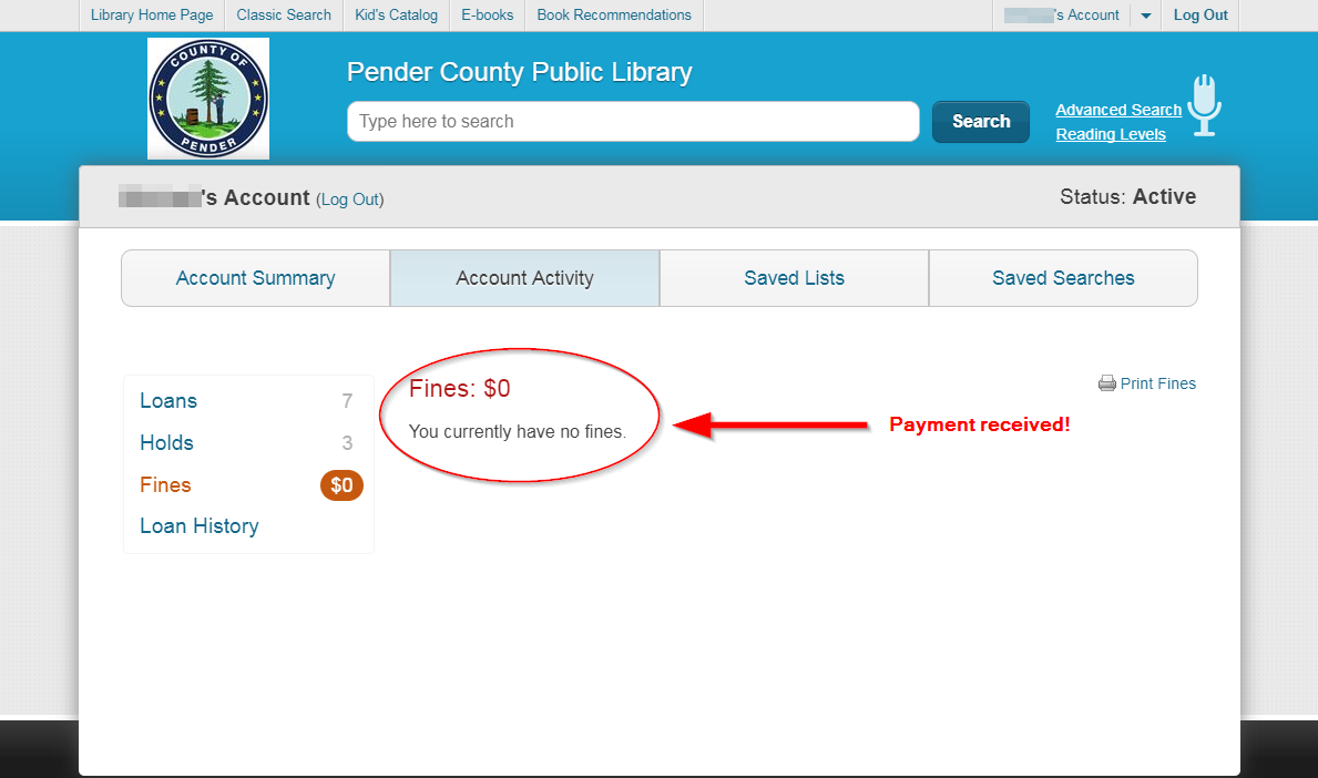 Library fines page: payment received