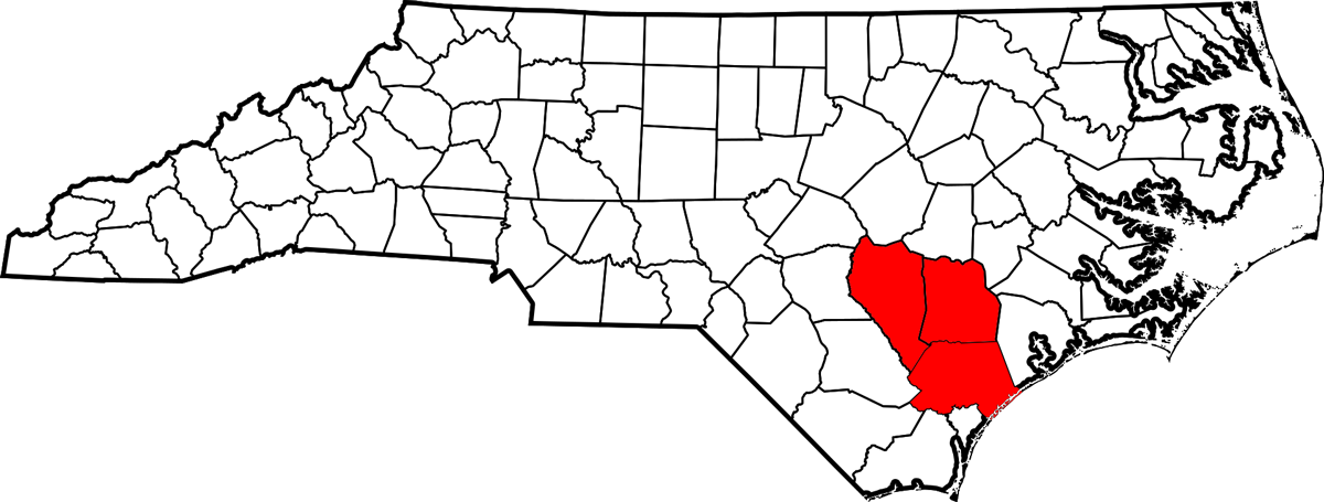 Pender, Sampston, and Duplin counties