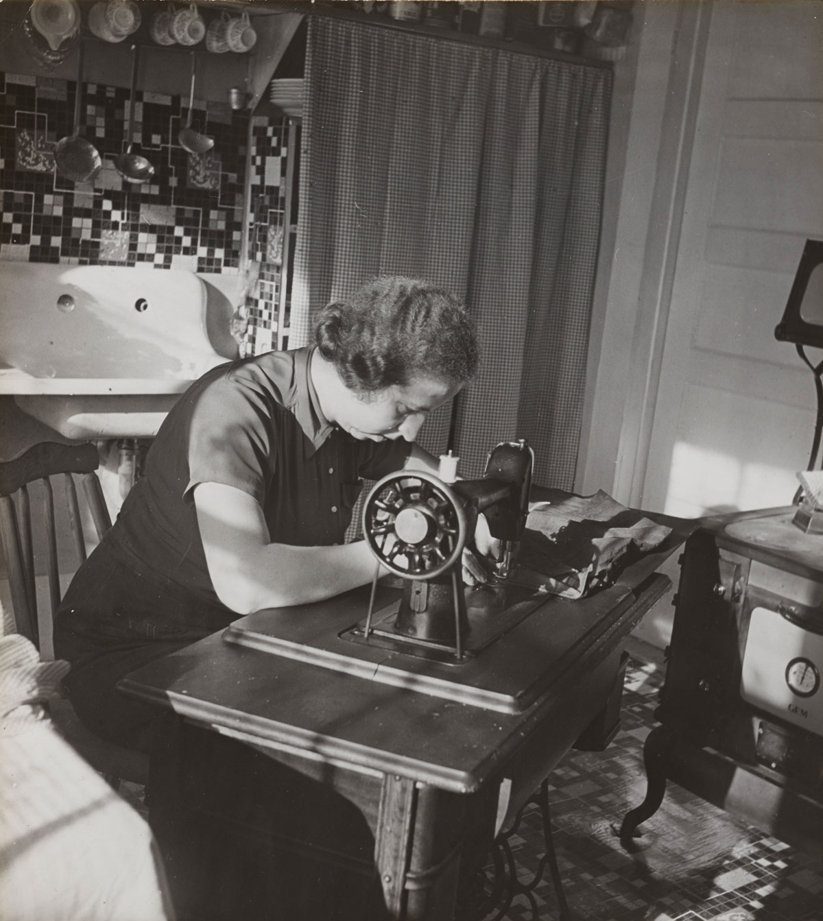 Helen Loeb sewing
