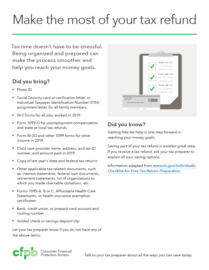 Make the most of your tax refund - https://files.consumerfinance.gov/f/documents/cfpb_taxtime_checklist_before_handout.pdf