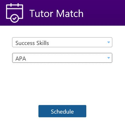 Tutor Match menu selections for Success Skills - APA