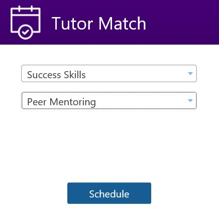 Tutor Match menu selections for Success Skills - Peer Mentoring