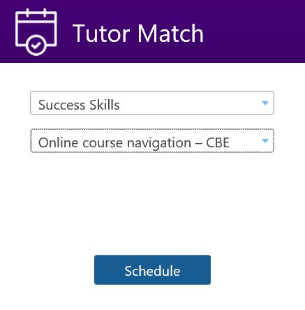 Tutor Match menu selections for Online Course Navigation - CBE