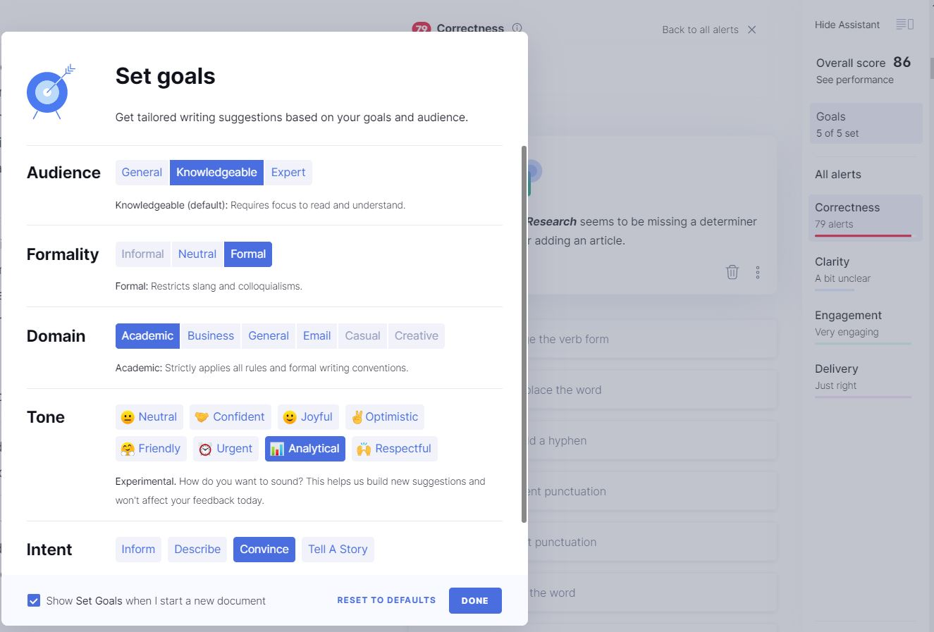 set goals screen in Grammarly with selections for audience, formality, domain, tone, intent