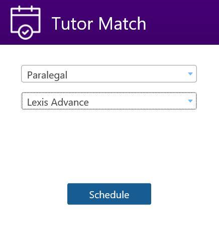 Tutor Match menu options for Paralegal - Lexis Advance