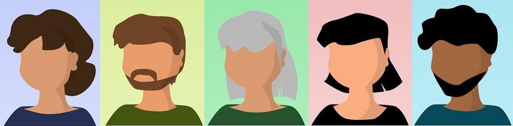 five illustrated headshots