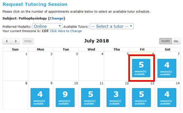 select a date from the Tutor Match Calendar