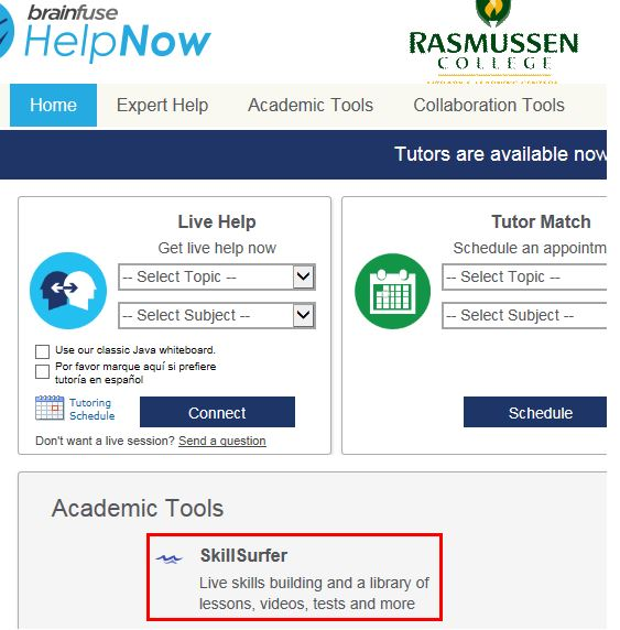 SkillSurfer is located in the Brainfuse tutoring p