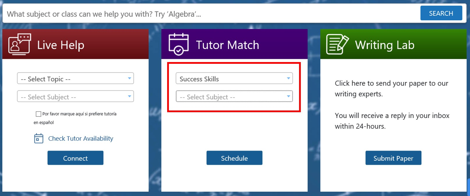 Tutor Match menu with Success Skills selected as topic
