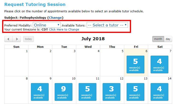 Select preferred modality, tutor, and time zone in Tutor Match calendar