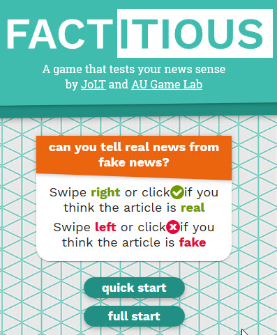 screenshot of Factitious fake news game