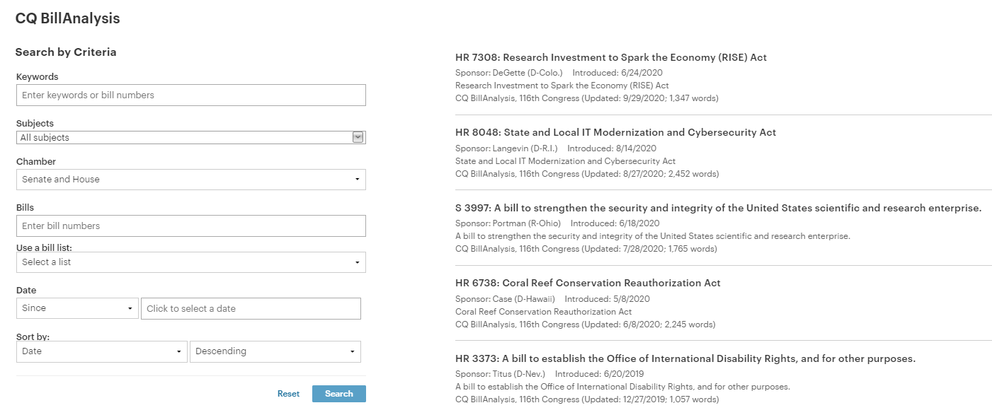 screenshot of cq bill analysis search