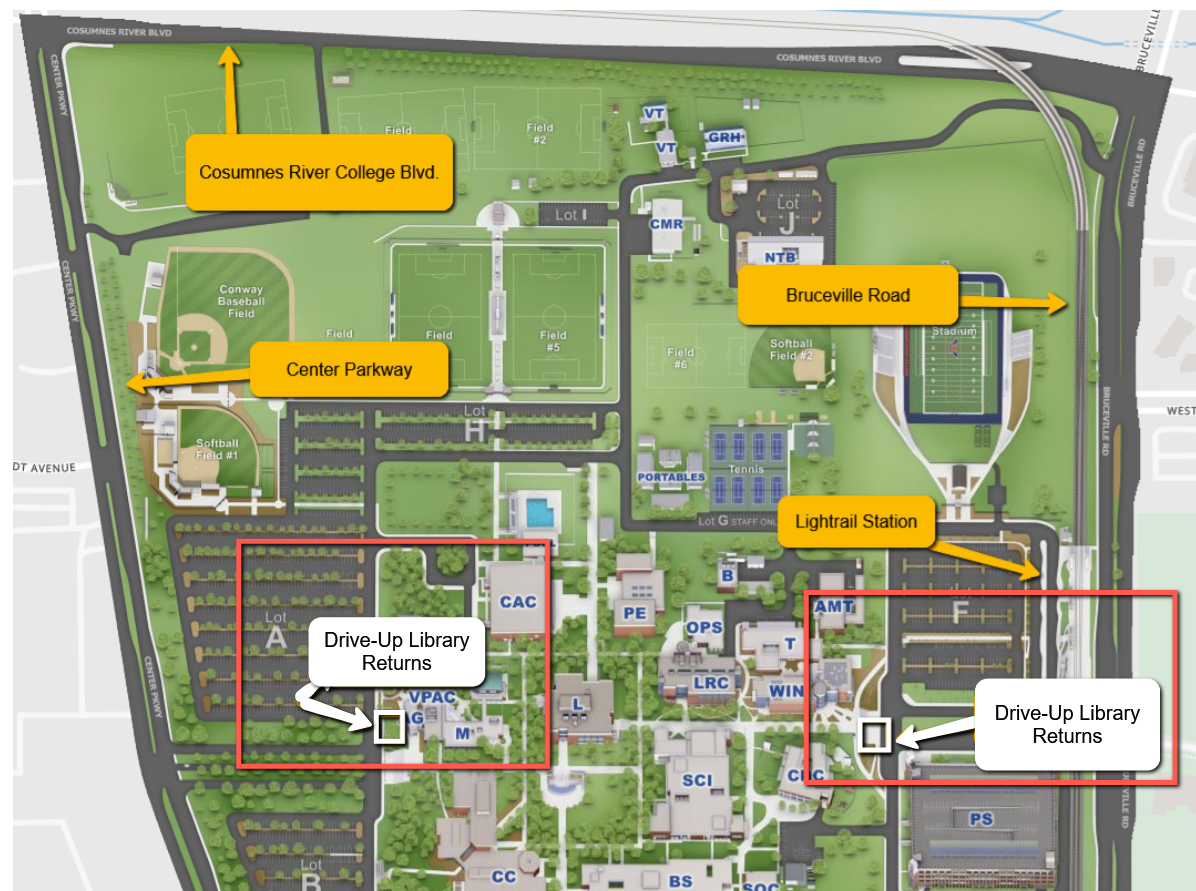 map showing drive up library drop boxes on east and west side of campus
