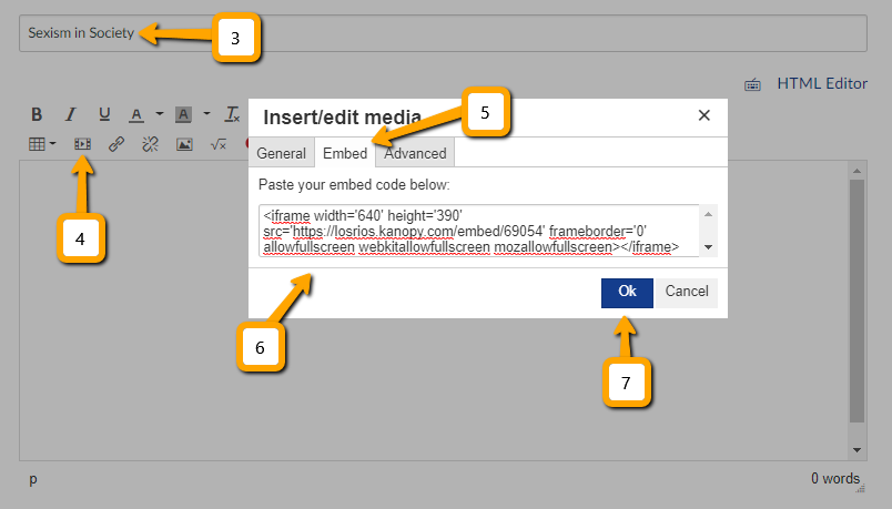 Screen shots showing steps 3-7 described in text