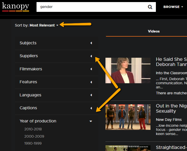 screen shot kanopy search filters