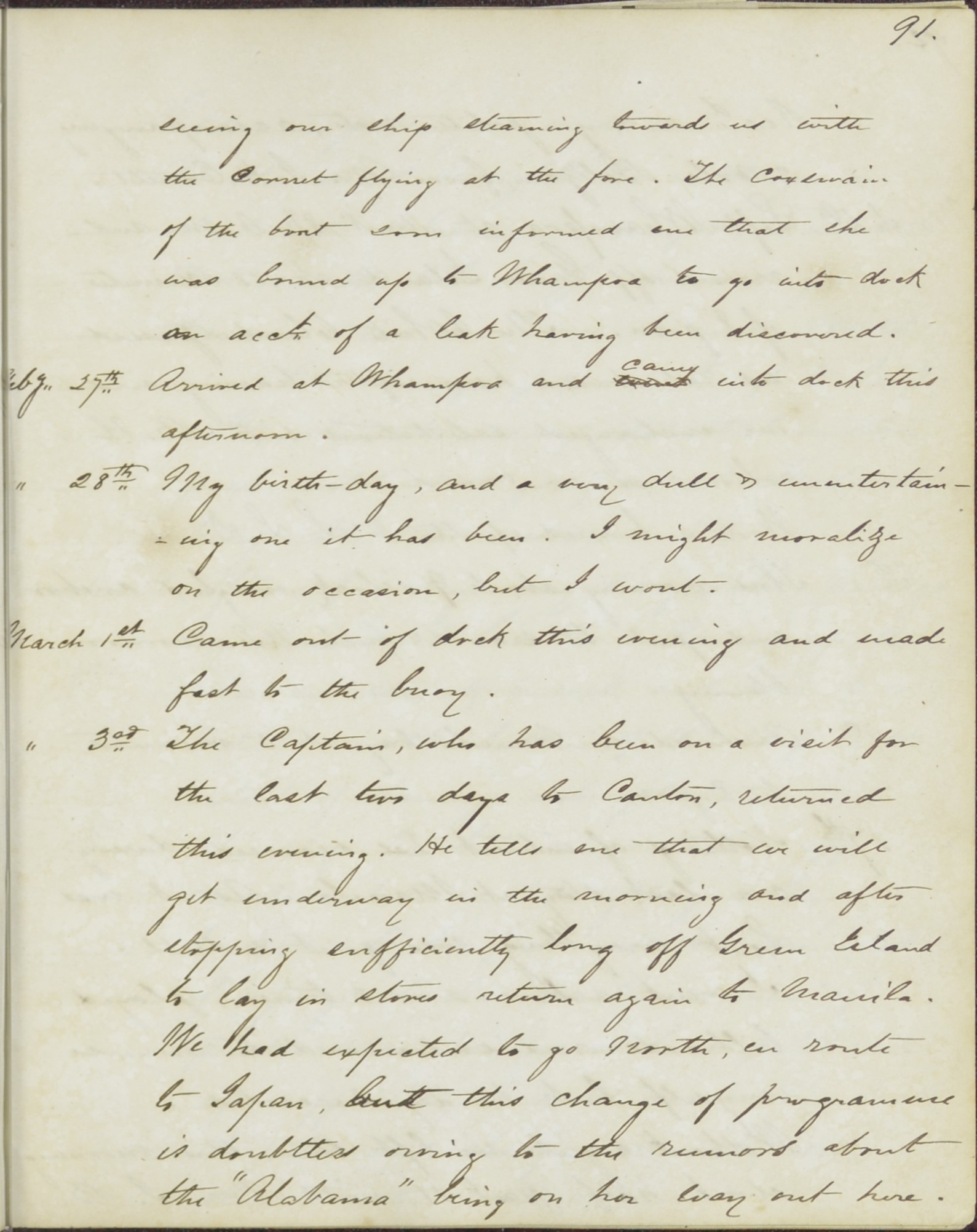 Denby diary entry of March 3, 1863