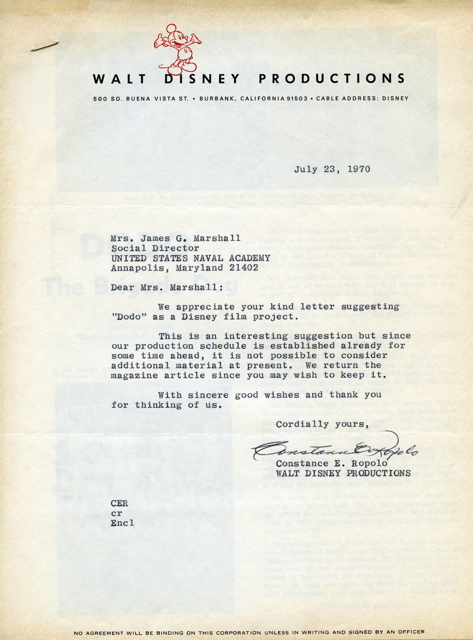Disney Productions letter