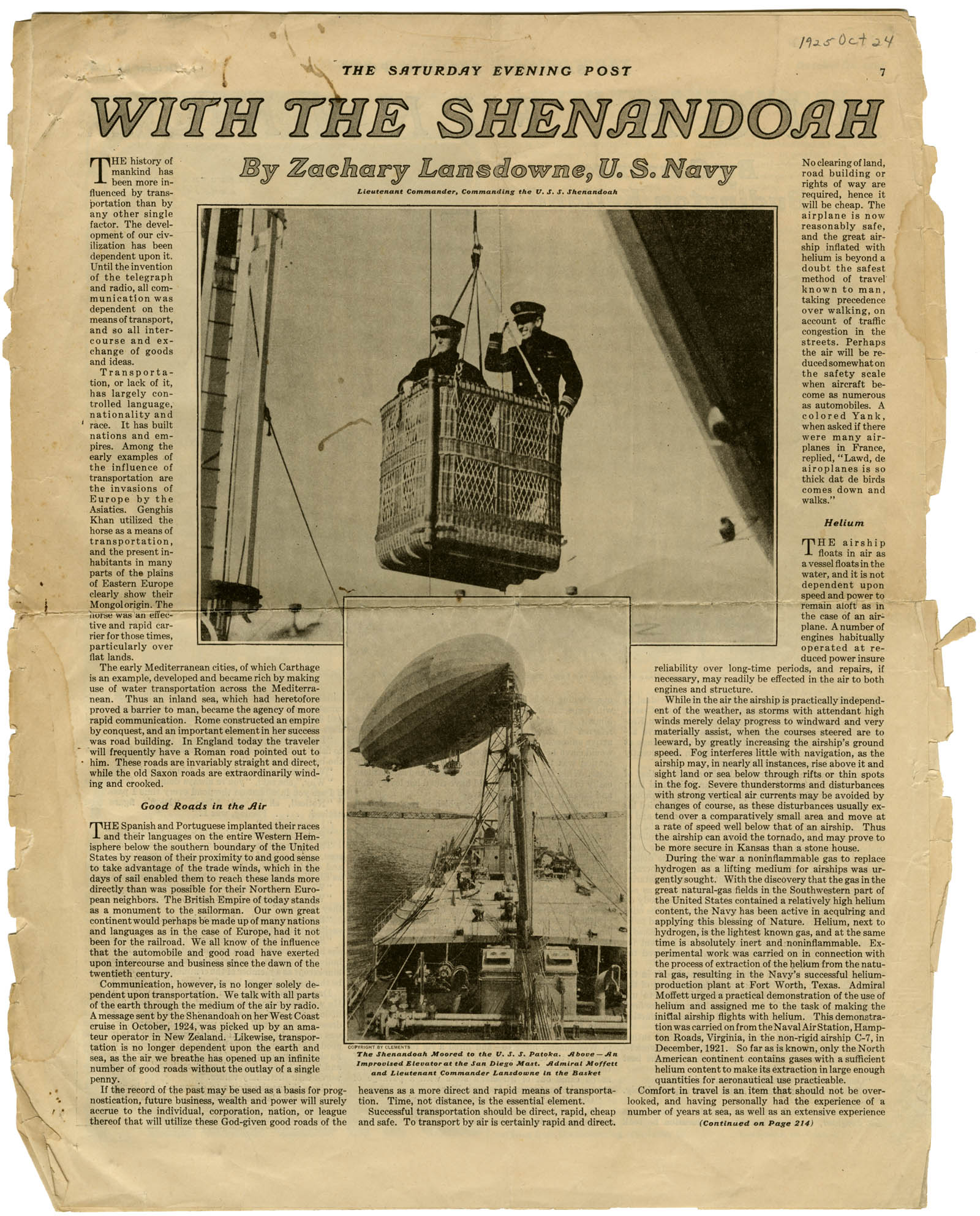 Saturday Evening Post article about the Shenandoah