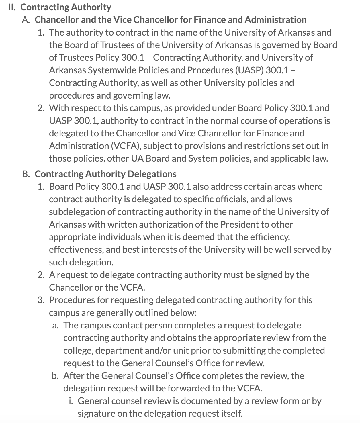 Fayetteville policy on website