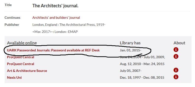 UARK passworded journal public display