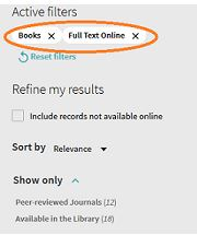 Picture of how to filter for e-book