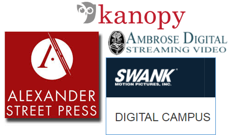 Logos for Alexander Street Press; Kanopy; Ambrose Digital Streaming Video, and Swank Digital Campus