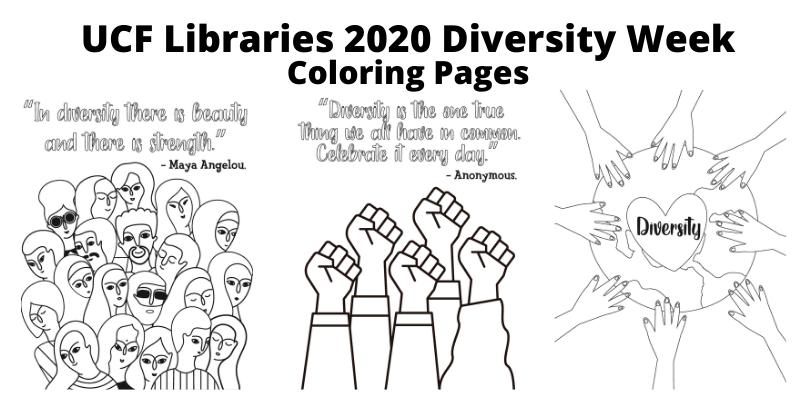 UCF Libraries 2020 Diversity Week Coloring Pages
