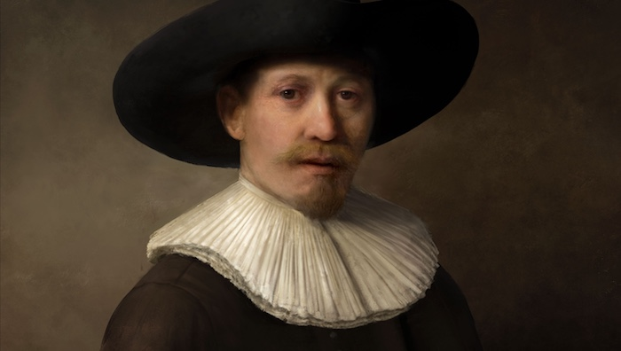 Faked portrait of a man in the style of Rembrandt