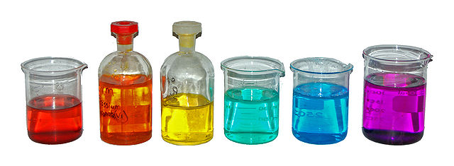 colored solutions in glass bottles