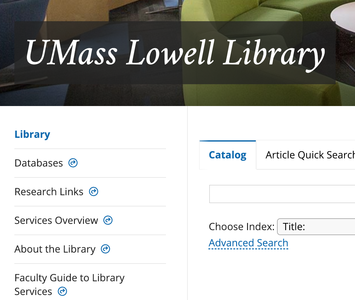 screen shot of uml library home page