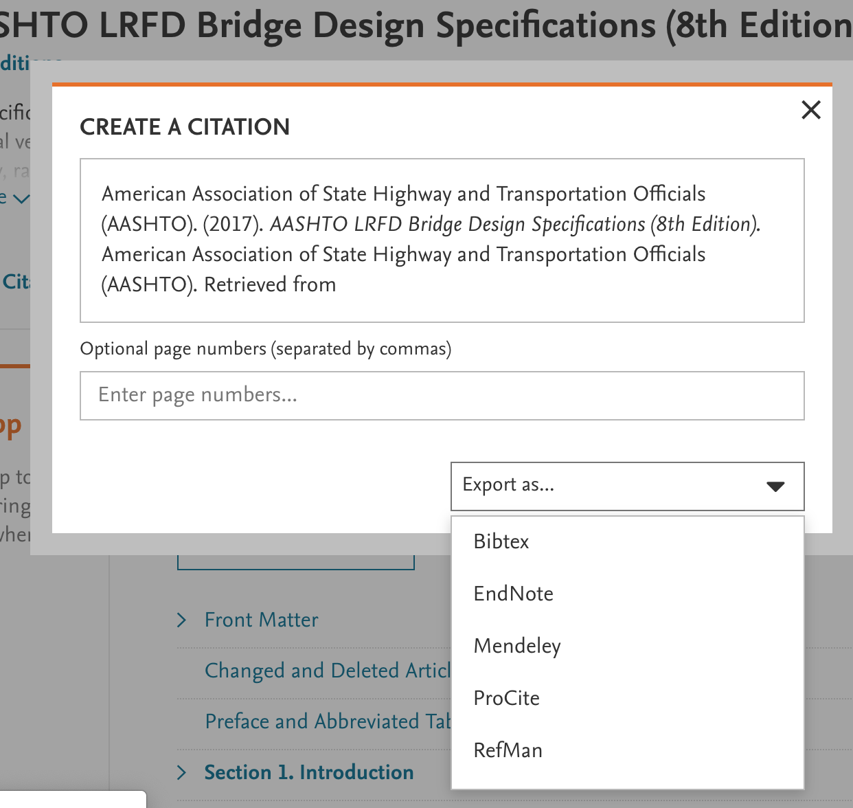 citation export dialog box in knovel