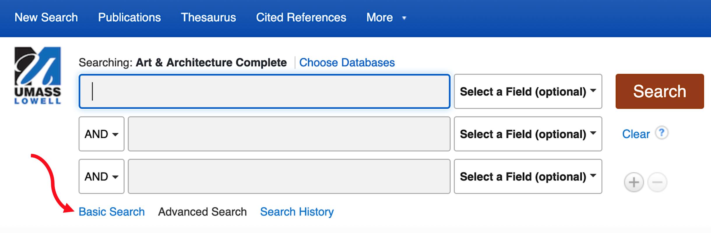 basic search tab dialog box
