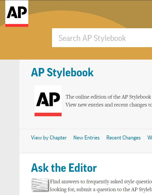 Screenshot of electronic AP Stylebook landing page.