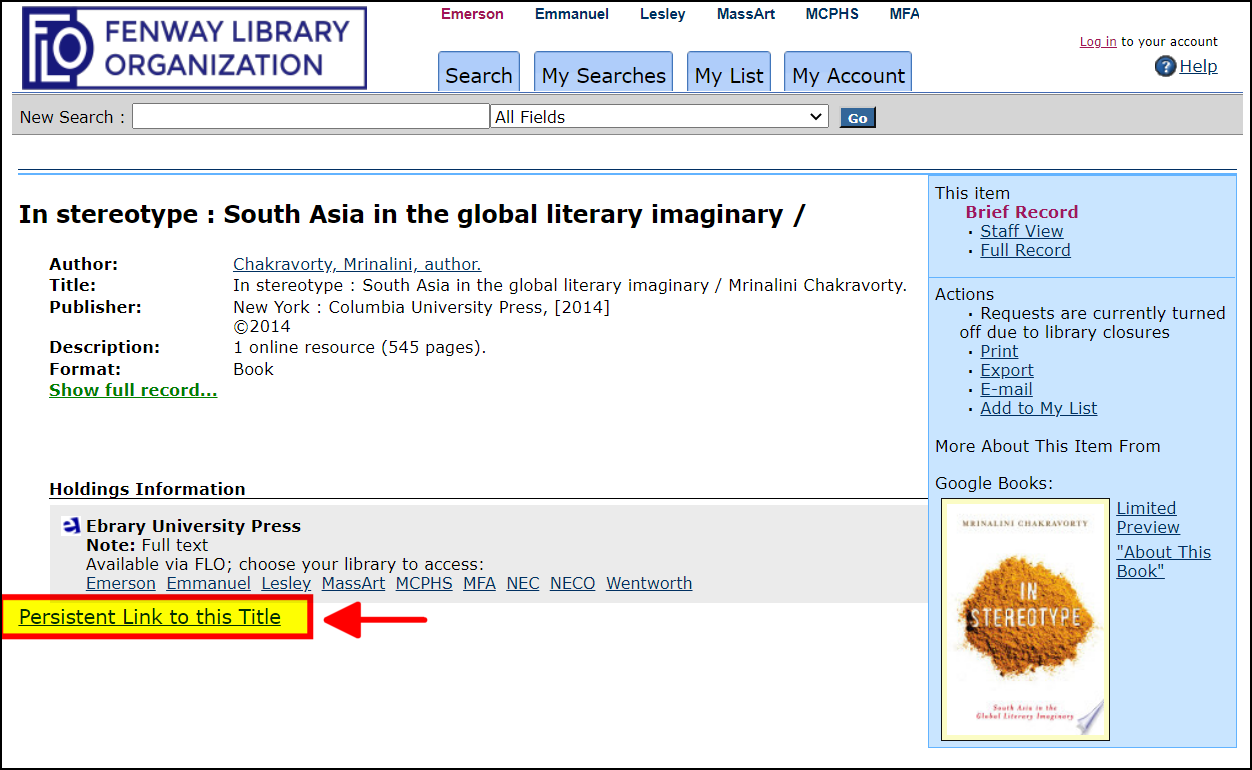 Persistent link to ebook in bottom right corner of online catalog record.
