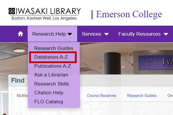 Iwasaki Library's Research Help menu includes Database A-Z listing.